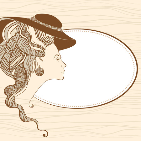 Beautiful young lady head silhouette in beige. Baroque style Illustration
