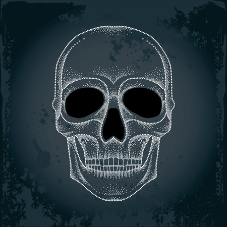 jowl: Dotted skull in white on the textured dark background