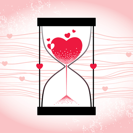 parting: Love concept with hourglass and decreasing sand on the striped pink background Illustration