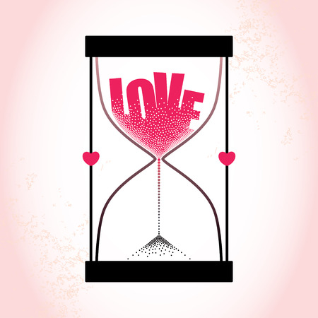 strew: Love concept with hourglass and decreasing sand on the textured pink background Illustration