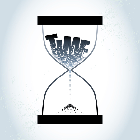 strew: Time concept with hourglass and decreasing sand on the textured gray background