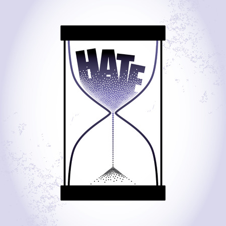 hate: Concept of hate with hourglass and decreasing sand on the light purple background