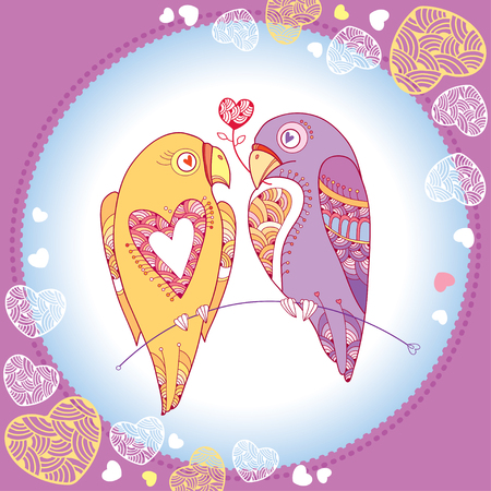lovebird: Couple of parrots in love in the round frame with ornate hearts