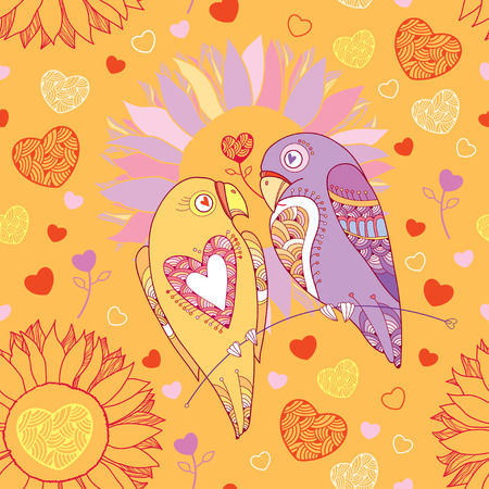 amore: Seamless pattern with cute parrots in love and flowers on the orange background