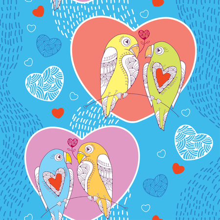 amore: Seamless pattern with cute parrots in love and hearts on the blue striped background