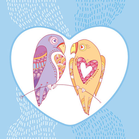 amore: Couple of parrots in love with white heart on the blue striped background