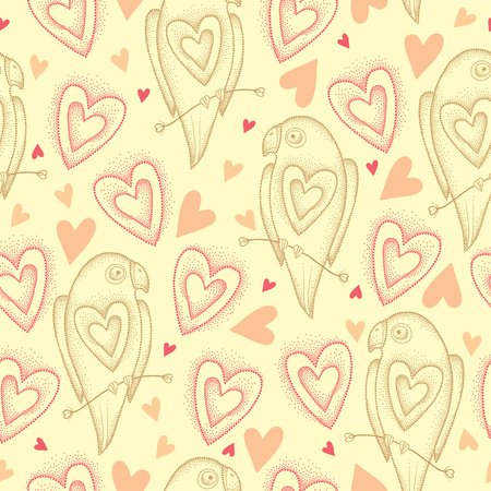 lovebird: Seamless pattern with dotted parrots in pastel beige and hearts Illustration