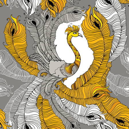 feathering: Seamless pattern with peacock and peacocks feathers in orange and in white