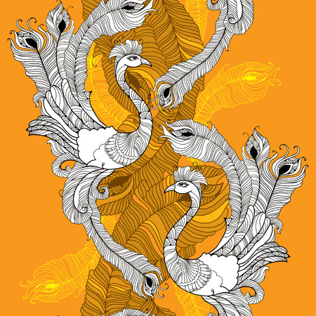 feathering: Seamless pattern with peacock in white and colorful peacocks feathers on the orange background