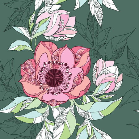Seamless pattern with Clematis flower in pink on the dark green background Çizim