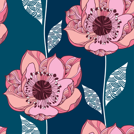 Seamless pattern with Clematis flower in pink and white leaves Illustration