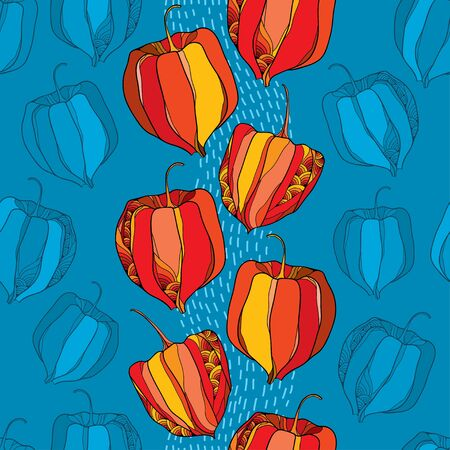 sepals: Seamless pattern with Physalis or Cape gooseberry in red and in orange on the blue background