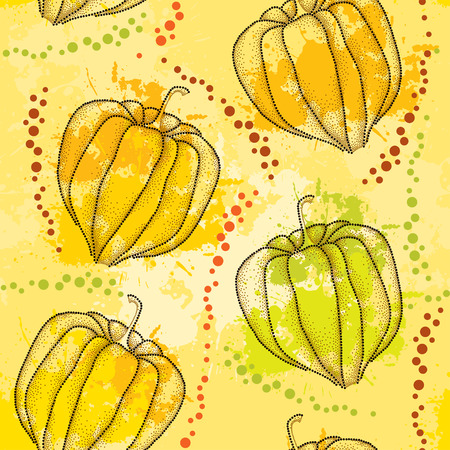 sepal: Seamless pattern with dotted Physalis or Cape gooseberry on the colorful blots background