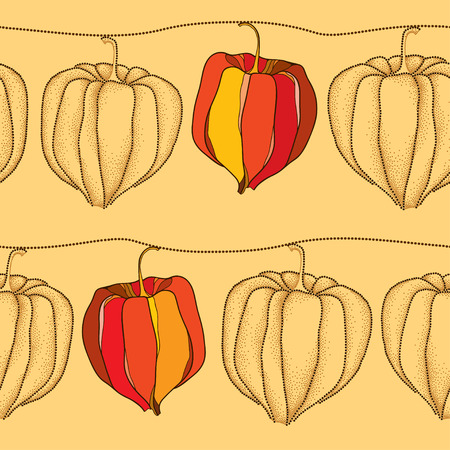 sepals: Seamless pattern with dotted Physalis or Cape gooseberry on the beige background