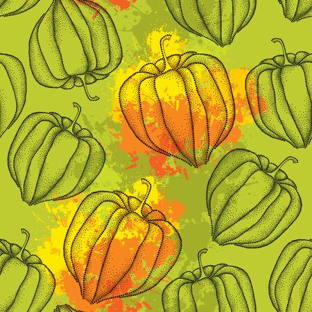 sepal: Seamless pattern with dotted Physalis or Cape gooseberry on the orange blots background