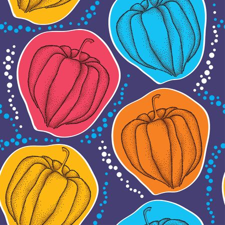 sepal: Seamless pattern with dotted Physalis or Cape gooseberry on the colorful background Illustration