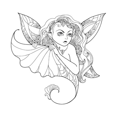 pixy: Mythological Pixie or Forest Fairy with wings and leaf in his hand isolated on white background. The series of mythological creatures