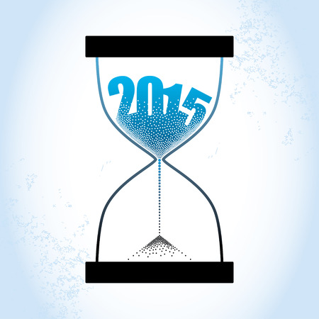 strew: 2015 Concept of the old year with hourglass and decreasing sand on the textured blue background