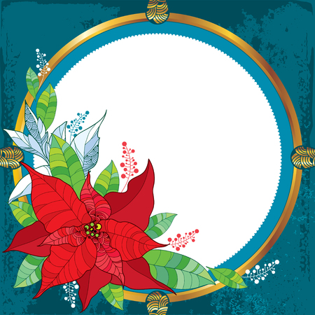 gold christmas decorations: Poinsettia flower or Christmas Star with round frame in gold on the textured background. Traditional Christmas symbol. Illustration