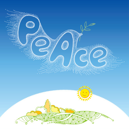 Dotted Dove of peace in white with olive branch flying over land. Traditional symbol of peace