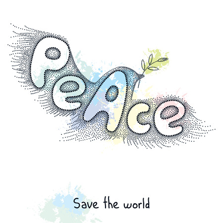 Dove of peace with olive branch in dotted style on the blots background. Traditional symbol of peace