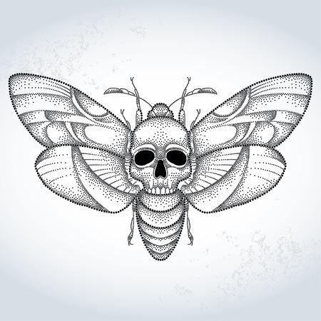 死の頭オオスカシバまたは織り目加工の背景に点線のスタイルで Acherontia アトロポス