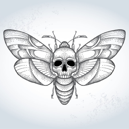 Deaths head hawk moth or Acherontia atropos in dotted style on the textured background
