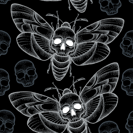 Seamless pattern with dotted Death's head hawk moth or Acherontia atropos in white and skulls 向量圖像
