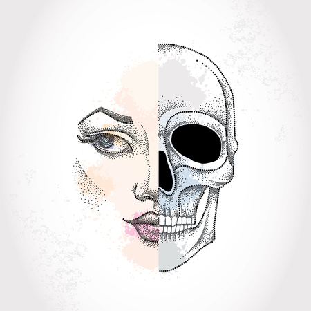 duality: Dotted half beautiful woman face and skull on the pastel blots background. Concept of duality.