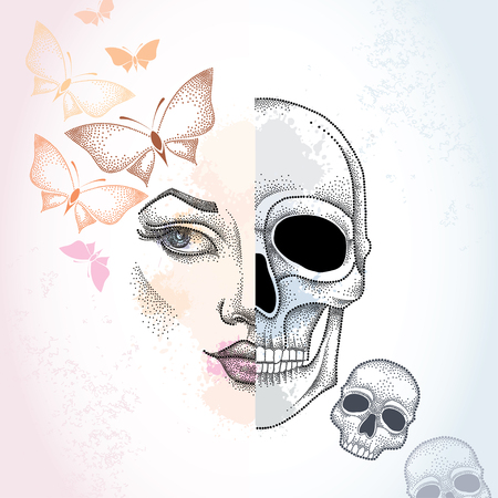 duality: Dotted half beautiful woman face and skull on the pastel blots background with butterflies in pink and skulls. Concept of duality.
