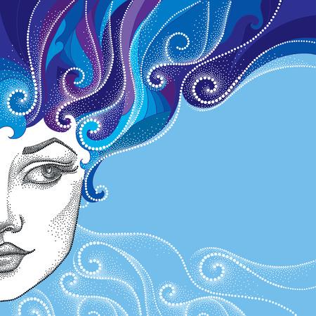 Gestippelde half mooie vrouw gezicht met abstracte krullend haar op de blauwe achtergrond. Concept van de winter en vrouwelijke schoonheid in dotwork stijl.