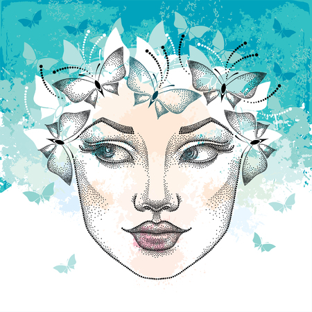 and turquoise: Dotted beautiful woman face on the textured turquoise background with blots and butterflies. Concept of spring and female beauty in dotwork style.