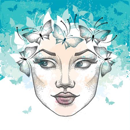 Gestippelde mooie vrouw gezicht op de textuur turquoise achtergrond met vlekken en vlinders. Concept van de lente en vrouwelijke schoonheid in dotwork stijl. Stock Illustratie