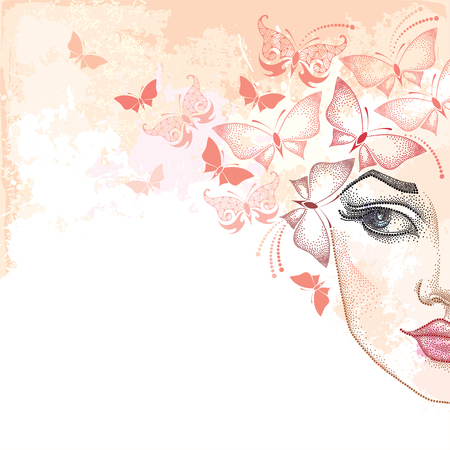 Dotted half beautiful woman face on the pastel blots background with butterflies in pink. Concept of spring and female beauty in dotwork style.