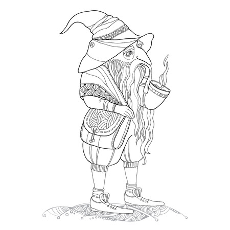 Mythological Gnome or Dwarf with tobacco pipe and a bag through a shoulder isolated on white background. The series of mythological creatures Illustration