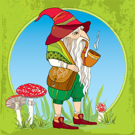 legends folklore: Mythological Gnome or Dwarf with tobacco pipe and a bag on the background with amanita and grass. The series of mythological creatures Illustration