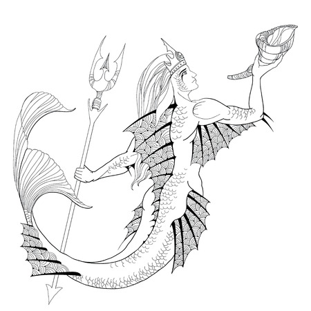 mythological: Mythological Neptune or Poseidon with trident and horn in hand isolated on white background. God of freshwater and the sea. The series of mythological creatures Illustration
