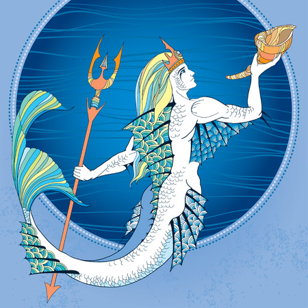 Mythological Neptune or Poseidon with trident and horn in hand in the round frame in blue. God of freshwater and the sea. The series of mythological creatures