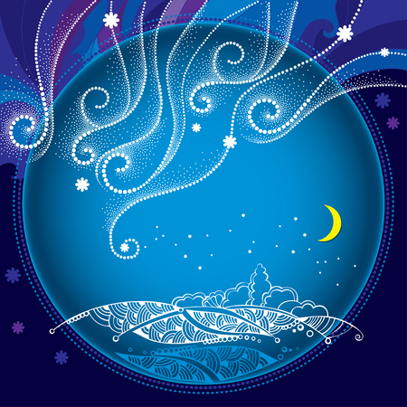 Winter night landscape with dotted snowflakes and curly lines in the round frame. Traditional winter and Christmas background. Illustration