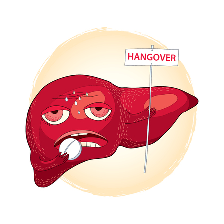 perspiration: Sick liver taking pills and holding a sign with the word HANGOVER. Hangover or effects of alcohol in cartoon style. Illustration