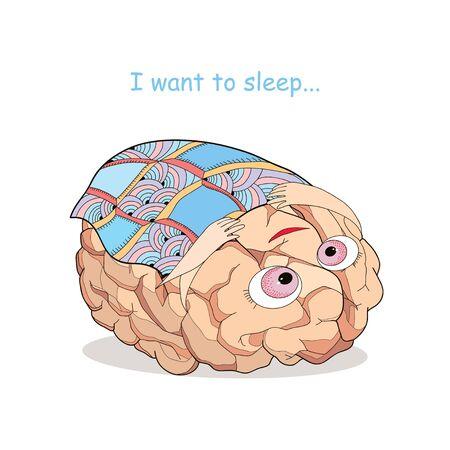 cansancio: Cerebro cansado con la manta a cuadros en estilo de dibujos animados. Concepto de cansancio, la recreación y la sobrecarga del cerebro