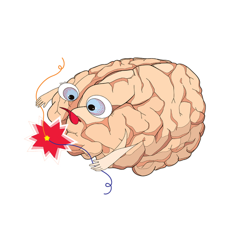 formative: Brain with wire short circuit in cartoon style. Concept of brainstorm, generator of ideas, concentration, creativity, imagination and intellect.