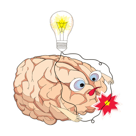 concentration: Brain with turning light bulb and wires short circuit in cartoon style. Concept of brainstorm, generator of ideas, concentration, creativity, imagination and intellect.