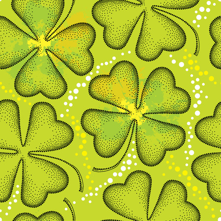 seamless clover: Seamless pattern with dotted four leaf clover on the green background with blots. Traditional symbol of St. Patrick Day.
