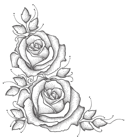 Stem with dotted rose flower and leaves isolated on white background. Floral elements in dotwork style. Illustration