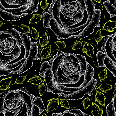 inflorescence: Seamless pattern with dotted white roses and green leaves on the black. Floral background in dotwork style.