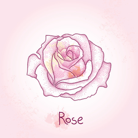 pointillism: Dotted rose flower on the pink textured background with blots in pastel colors. Floral elements in dotwork style.