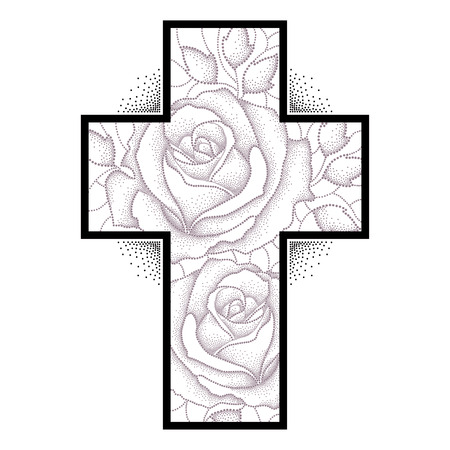 Latin cross with dotted rose flower and leaves isolated on white background. Sketch of symbolic tattoo with floral elements in dotwork style.