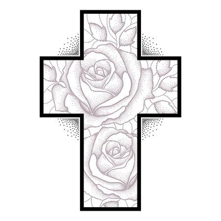 Croix latine avec en pointillés fleur rose et des feuilles isolées sur fond blanc. Croquis de tatouage symbolique d'éléments floraux dans le style de dotwork.