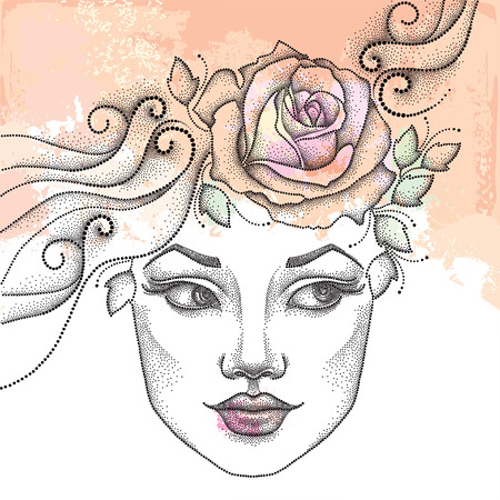 beautiful girl face: Dotted beautiful girl face on the textured beige background with roses and blots. Concept of spring and female beauty in dotwork style.